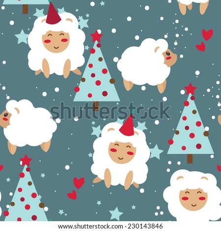 Happy new year seamless background, party sheeps and xmas trees, vector illustration - stock vector
