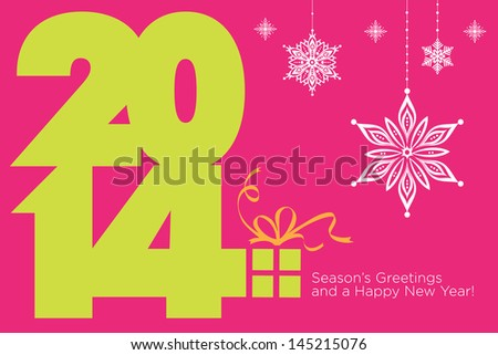 Happy new 2014 year. Season�s Greetings. Colorful, stylish design. Vector EPS 10 illustration.   - stock vector
