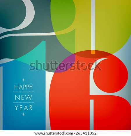 Happy new 2016 year. Seasons Greetings. Colorful design. Vector illustration and photo image available. - stock vector