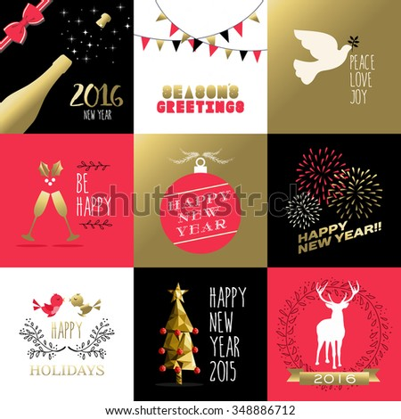 Happy New Year 2016 set of retro banners and labels with gold, red colors. Includes ornament decoration, holiday elements, fireworks. EPS10 vector. - stock vector