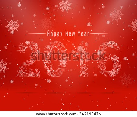 Happy New Year 2016 Snowflake background. - stock vector