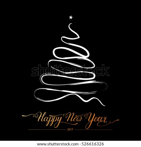 Happy new year stylized lined decorative fir tree on black background.Winter holiday greeting card. Vector Illustration