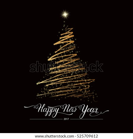 Happy new year stylized lined golden decorative fir tree on black background. Winter holiday greeting card. Vector Illustration