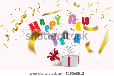 Happy New Year,surprising gift box with text and bokeh confetti jumping out like a jack in the box.Vector illustration.