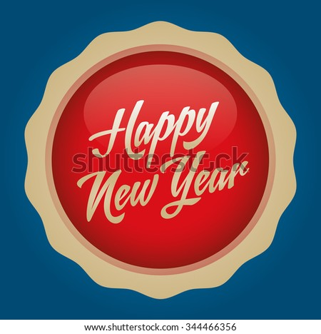 Happy new year text badge. Vector illustration. Red-Gold Badge - Cyan background.