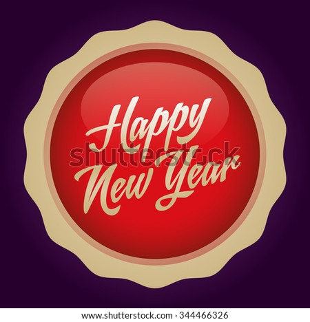 Happy new year text badge. Vector illustration. Red-Gold Badge - Purple background.