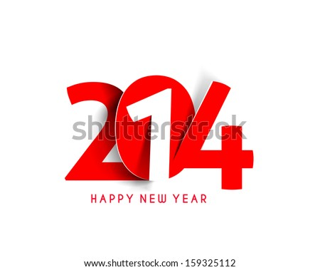 Happy new year 2014 Text Design  - stock vector