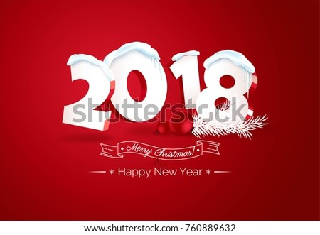 Happy new year 2018 Text Design.   Happy holidays banner with 2018 3d numbers, berries and branches isolated on red background. Greeting card. Vector illustration.