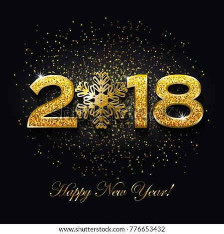 Happy new year 2018 text design stock vector royalty free happy new year 2018 text design on dark background with sparkles vector greeting illustration with m4hsunfo