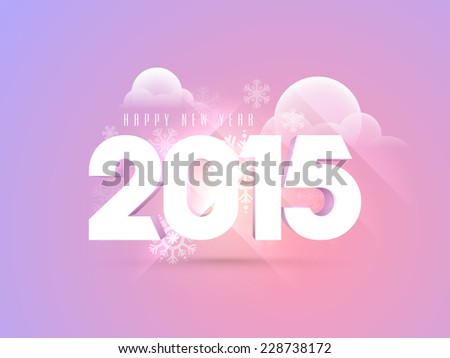 Happy New Year 2015 text design on snowflake and clouds decorated purple background, can be used as poster, banner or flyer. - stock vector