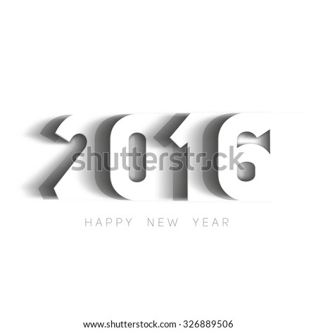 Happy new year 2016 Text Design, paper cut style modern simple vector, white background - stock vector