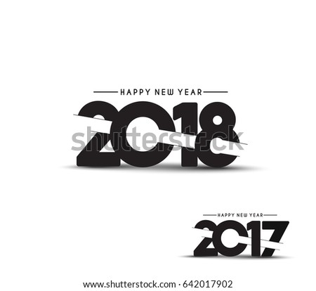Happy new year 2018 - 2017 Text Design Vector illustration