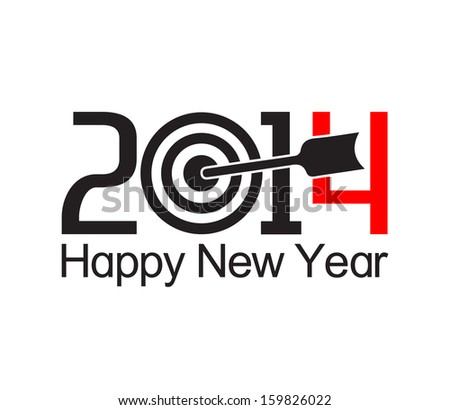 Happy new year 2014 text design with arrow at the target - stock vector
