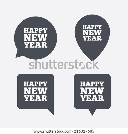 Happy New Year Text Sign Icon Stock Vector 216327685 - Shutterstock