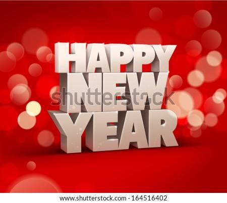Happy new year text. Vector - stock vector