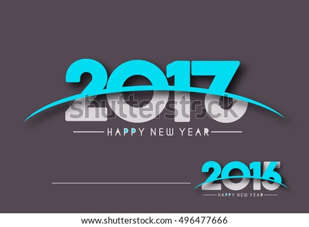 Happy new year 2017, 2016 Text Vector Design Background