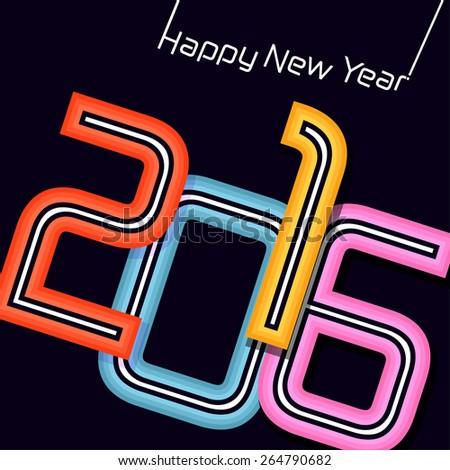 Happy new year 2016, typographic illustration. Calendar cover design - stock vector