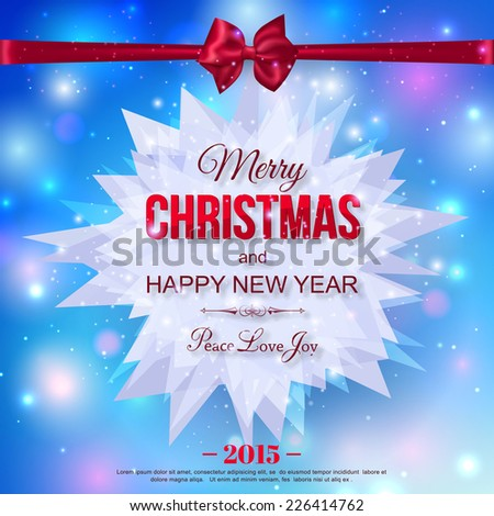 Happy New Year 2015 typographical celebration concept with silk red bow over shining blue background and place for text. Abstract background. Vector illustration. - stock vector