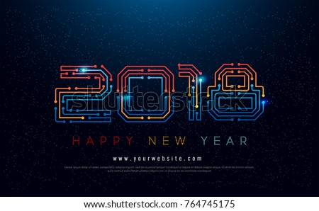 Happy new year 2018 typography technology stock vector hd royalty happy new year 2018 typography technology stock vector hd royalty free 764745175 shutterstock voltagebd Choice Image