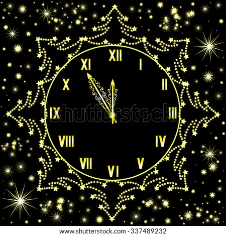 Happy New Year vector background with shining snowflakes and golden clock showing five minutes to midnight - stock vector