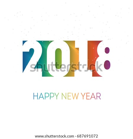 happy new year 2018 vector background with the rainbow gradient cover of business diary for
