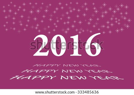 Happy new year vector card with the white numbers 2016 and bevelled inscription  Happy New Year on the trendy dark pink background. Stars are in the upper part of the vector. - stock vector