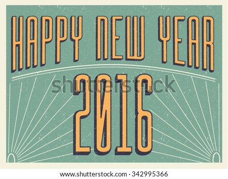 Happy new year vector greeting card - stock vector