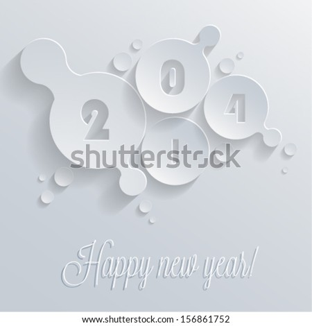 Happy new year 2014 vector greeting card design. Eps10.  - stock vector