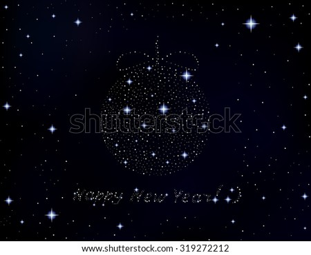 Happy New Year vector illustration with words written in the stars  - stock vector