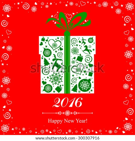Happy new year 2016! Vintage card. Celebration background with Christmas gift box and place for your text. Vector Illustration  - stock vector