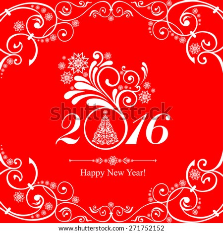 Happy new year 2016! Vintage card. Celebration background with Christmas tree and place for your text. Vector Illustration