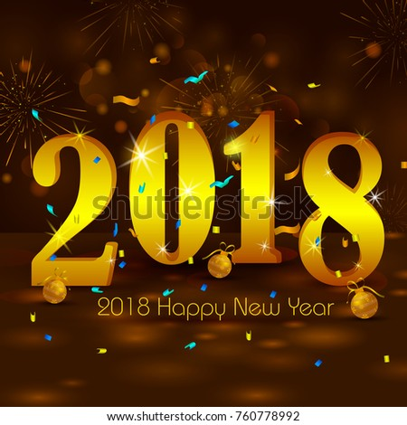 Happy new year 2018 wishes greeting stock vector 2018 760778992 happy new year 2018 wishes greeting card template background design in vector m4hsunfo