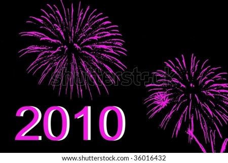 Happy New Year 2010 with colorful fireworks - stock vector