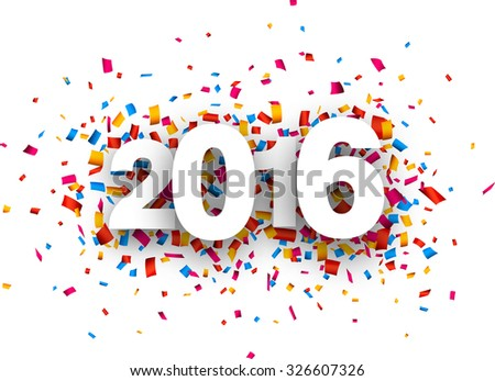 Happy 2016 new year with colour confetti. Vector paper illustration. - stock vector
