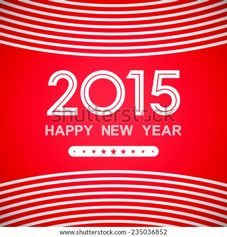 happy new year 2015 with curve line pattern on red background (vector)