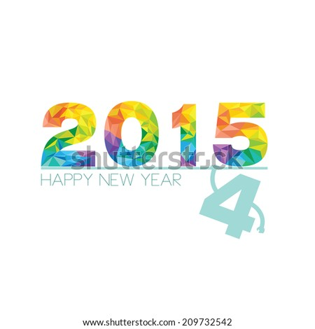 Happy New Year 2015 with rainbow polygon design