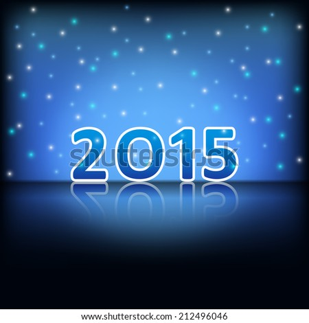 happy new year 2015 with reflection and glitter on dark blue background (vector)