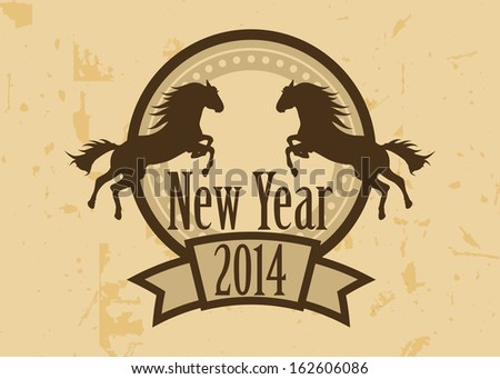 Happy new year 2014, year of the horse. Vector