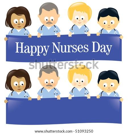 Happy Nurses Day Multi-Ethnic - stock vector
