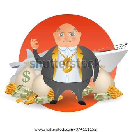 Happy old businessman with a lot money and yacht. Business concept cartoon illustration. A happy cartoon rich man, smoking cigar and holding many dollar bank notes.  Investments for future.  - stock vector