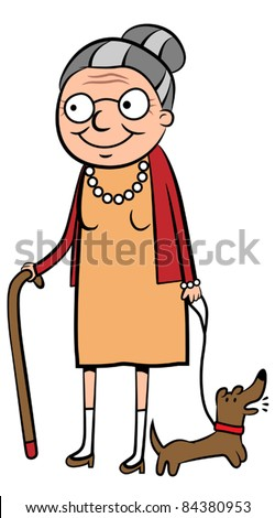 Happy old cartoon woman Elderly Woman Walking Drawing