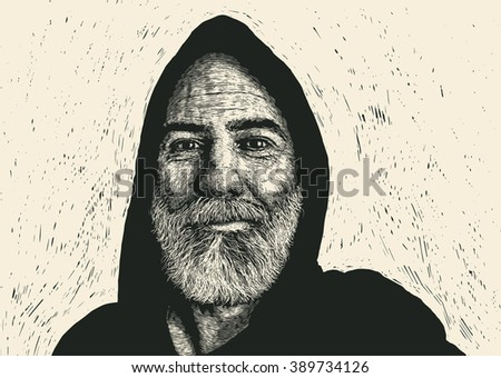 happy old dude in hood. engraving style. vector illustration