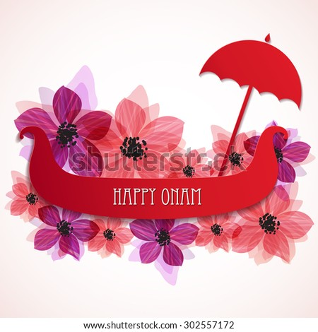 Happy Onam background, banner or greeting card design for South Indian festival Onam decorated with beautiful flowers and snake boat. Vector illustration - stock vector