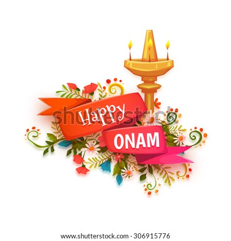 Happy Onam banner with flowers and lamp. - stock vector