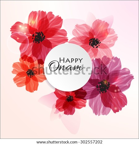 Happy Onam! Flower greetings for South Indian Festival Onam. Vector illustration
