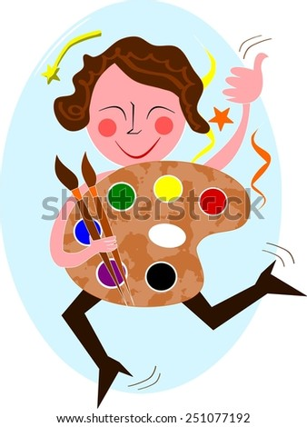 Happy painter with palette and pencils - stock vector