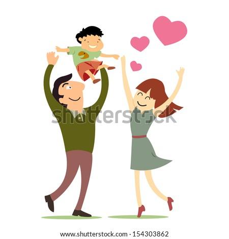 Happy parents play joyfully with  their son. Family love concept.  - stock vector