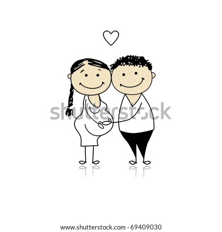 Happy parents waiting for baby, pregnancy - stock vector