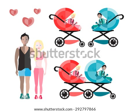Happy Parents with Baby  Carriages and Children.Vector Flat Illustration. - stock vector