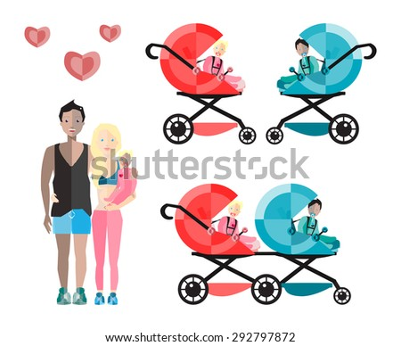 Happy Parents with Baby  Carriages and Children. Vector Flat Illustration. - stock vector
